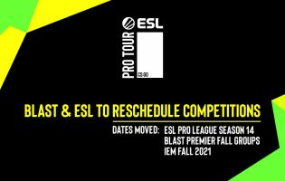 ESL and BLAST has rescheduled a few CS:GO events
